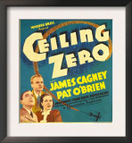 Ceiling Zero, Pat O'Brien, James Cagney, June Travis on Window Card, 1936 Print
