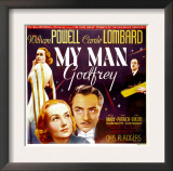 My Man Godfrey, Carole Lombard, William Powell on Jumbo Window Card, 1936 Art
