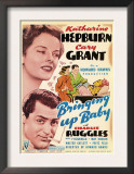 Bringing Up Baby, Katharine Hepburn, Cary Grant on Midget Window Card, 1938 Art