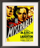 Les Miserables, Charles Laughton, Fredric March on Window Card, 1935 Posters
