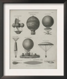 Aeronautics, Early Balloon Designs, c.1818 Posters by Joseph Clement