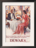 Dewar's, Whiskey Alcohol Dinners, UK, 1930 Prints