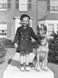 Smiling Girl With a German Shepherd Wearing a Six Button Navy Overcoat Photographic Print by H. Armstrong Roberts