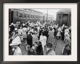 Japanese-American Internees Waiting to Board Train to Santa Anita, Los Angeles, c.1942 Print
