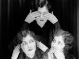 Triple Exposure of Girl in Hear No Evil, See No Evil, Speak No Evil Poses Photographie par H. Armstrong Roberts