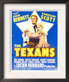 The Texans, Randolph Scott, Joan Bennett on Window Card, 1938 Prints