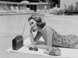 Poolside Radio Photographic Print by H. Armstrong Roberts