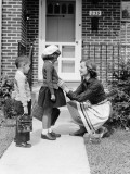 Mother Seeing Children Off To School Photographic Print by H. Armstrong Roberts
