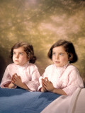 Twin Girls Saying Nightly Prayers Praying By Bedside Photographic Print by H. Armstrong Roberts