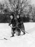 Two Smiling Children on a Pair of Skis Photographic Print by H. Armstrong Roberts