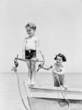 Boy Standing on Bow of Row Boat Holding Anchor, Girl Holding Rope Photographic Print by H. Armstrong Roberts