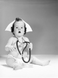 Baby Wearing Nurse's Hat and Stethoscope Photographic Print by H. Armstrong Roberts