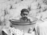 Baby Sitting in Wash Tub, Having Bath Photographic Print by H. Armstrong Roberts