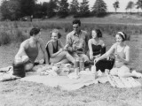 Group of Five People Having Summer Picnic on Beach Photographic Print by H. Armstrong Roberts