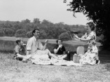 Family Having Picnic By Lake, Mother Holding Up Cake, Smiling Photographic Print by H. Armstrong Roberts