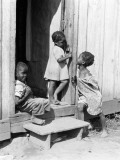 Three African-American Children on Step of Open Door Photographic Print by H. Armstrong Roberts