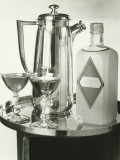 Cocktail Shaker, Two Glasses and Bottle With Gin Bottle Standing on Tray, Close-Up Photographic Print by George Marks
