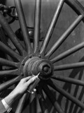 Hand Holding Oil Can, Squeezing Lubrication Oil Onto Center Hub of Wooden Wheel With Spokes Photographie par H. Armstrong Roberts