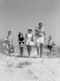Family of Five, in Bathing Suits, Walking Towards Beach, Carrying Parasol and Picnic Photographic Print by H. Armstrong Roberts