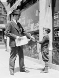 Newspaper Boy Selling Paper To Businessman, Philadelphia Photographic Print by H. Armstrong Roberts