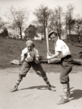 Boy at Bat and Boy Catching, Both Wearing Knickers, Caps and Argyle Socks Photographic Print by H. Armstrong Roberts
