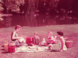Family Having Picnic, Mother Pouring Milk From Pitcher Photographic Print by H. Armstrong Roberts