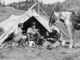 Woman and Men Breakfast Outside Tent at Cowboy Campsite Photographic Print by H. Armstrong Roberts