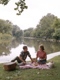 Retro Couple Having a Picnic By the Water Photographic Print by H. Armstrong Roberts