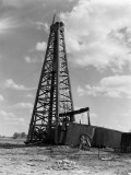 Oil Well With Wooden Derrick, Near Houston, Texas Photographic Print by H. Armstrong Roberts