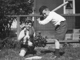 Two Boys (6-7) Playing Baseball in Garden Photographic Print by George Marks