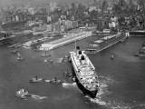 Ocean Liner With Tug Boats in Ny Harbor Photographic Print by George Marks