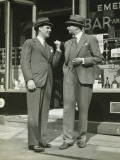 Two Elegant Man Talking at Entrance To Pub Photographic Print by George Marks