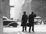 Two Men Walking on City Street in Snow-Storm Reproduction photographique par George Marks