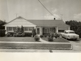 Suburban Tract House With Vintage Car in Drive Photographic Print by George Marks