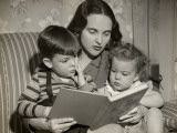 Mother Reading To Little Son and Daughter Photographic Print by George Marks