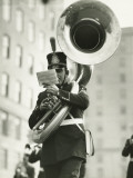 Young Soldier in Old-Styled Uniform Playing on Tuba Photographic Print by George Marks