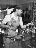 Woman Defense Worker Operating Machinery Photographic Print by George Marks