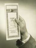 Businessman Holding Insurance Policy, Close-Up of Hand Reproduction photographique par George Marks