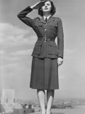 Woman in Military Uniform Saluting Outdoors Photographic Print by George Marks