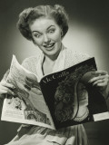 Woman Looking Surprised, Reading Fashion Magazine Photographic Print by George Marks