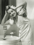 Portrait of Young Woman Washing Hair in Bathroom Photographic Print by George Marks