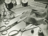 Seamstress or Tailor Paraphernalia Lying on Table, Close-Up Photographic Print by George Marks