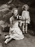 Mother and Daughter on Picnic Taking Picture Photographic Print by George Marks