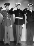 Army, Marine and Navy Men in Uniform Saluting Photographic Print by George Marks