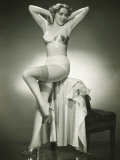 Woman in Underwear and Stockings Posing in Studio, Portrait Reproduction photographique par George Marks