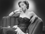 Woman in Evening Dress Smoking Cigarette Photographic Print by George Marks