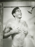 Mid Adult Man Taking Shower, Smiling Photographie par George Marks