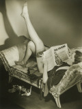 Woman Reading Fashion Magazine, Relaxing on Chaise Lounge Photographic Print by George Marks
