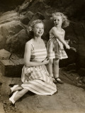 Mother and Daughter Outside With Picnic Basket Photographic Print by George Marks