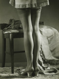 Woman in Stockings Standing Indoors, Low Section Photographic Print by George Marks